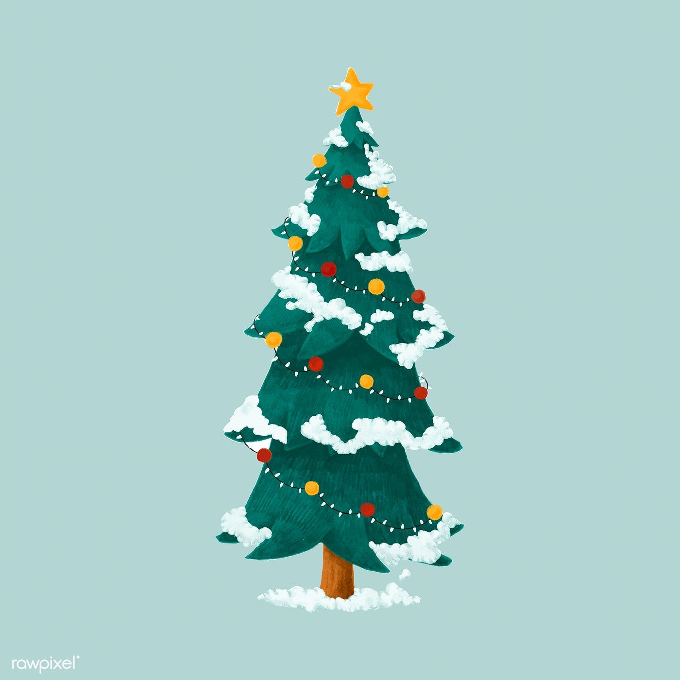 Hand Drawn Decorated Christmas Tree Illustration Free Image By Rawpixel Com Noon Christmas Tree Drawing Christmas Illustration Tree Illustration