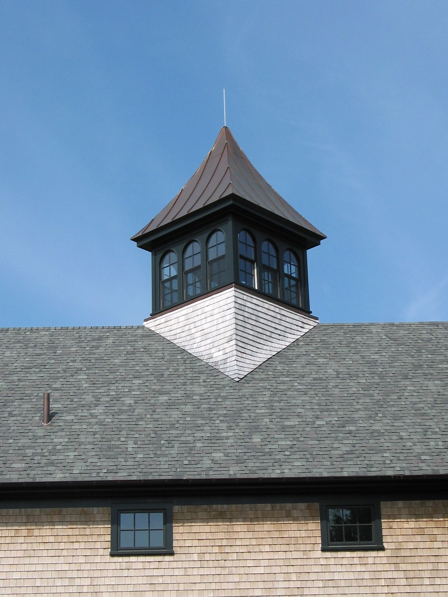 Barn with cupola diagonal with shingle sweep new england for Pictures of houses with cupolas