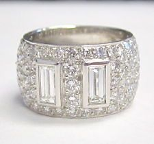 Fine Baguettes and Round Diamond Wide Ring 4.55cts PLATINUM