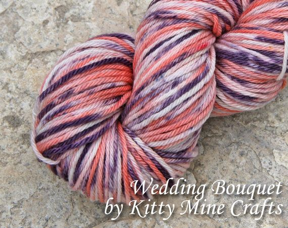 Wedding Bouquet has been a VERY popular colorway. This luxurious superwash merino yarn was kettle dyed in shades of peach and blackberry purple. I can repeat this color on any yarn or fiber I carry, with varying results.  #MMMakers #KittyMineCrafts #Yarn #indiedyer
