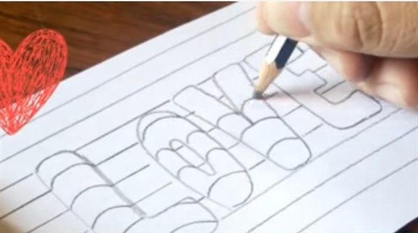 paso 3 para dibujar letras en 3d aprender a dibujar