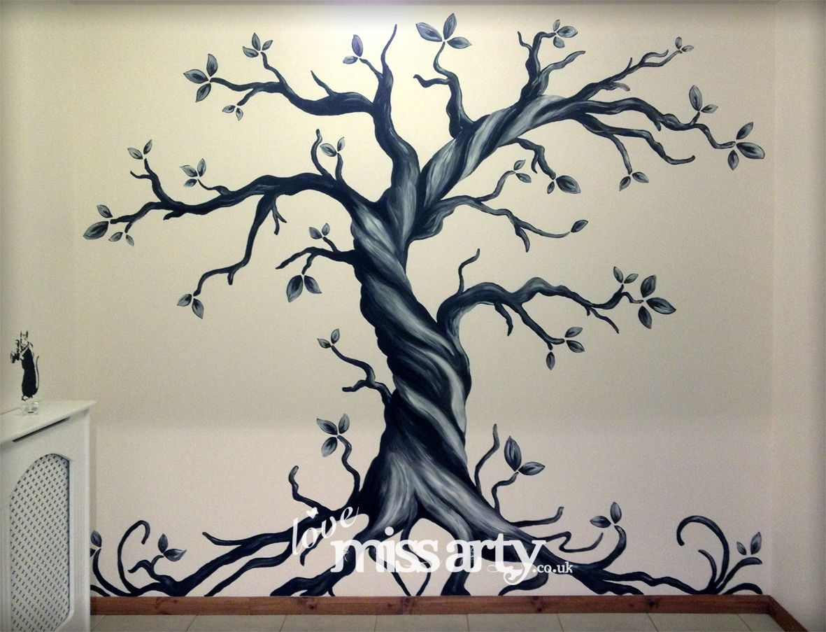 gothic tree wall mural designed and painted inspiring. Black Bedroom Furniture Sets. Home Design Ideas