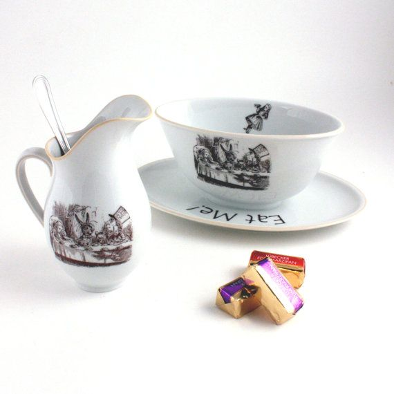 SALE Altered Tea Party Set Alice in by MoreThanPorcelain on Etsy, €38.00