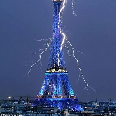 The Eiffel Tower getting struck by lightning. #wow Sept 1, 2011    Photo BY: Caters News Agency