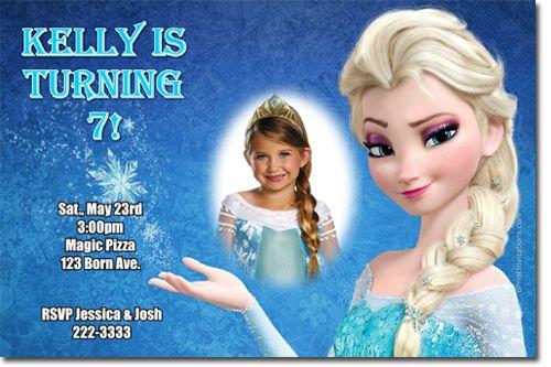 Custom Photo Elsa Frozen Birthday Party Invitation Ideas Disney