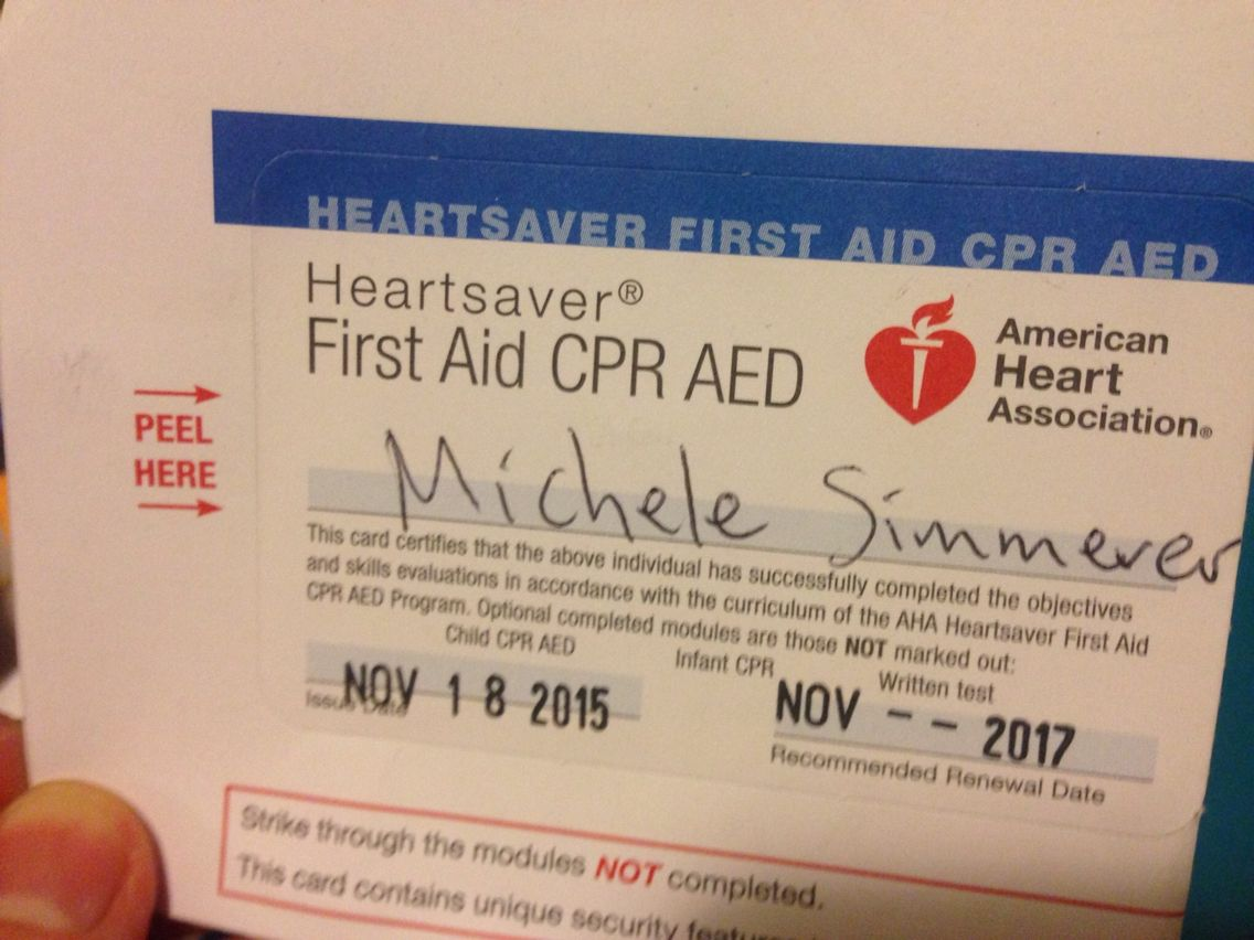 Michele is CPR certified! Child cpr, First aid cpr, Cpr