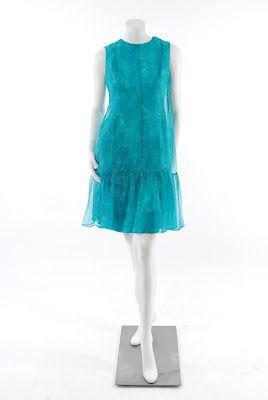 bd5be807e5f9 Balenciaga Haute Couture mousseline aqua print dress