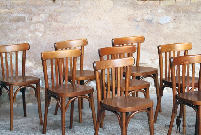 lot de 6 chaises bistrot baumann en bois dossier barreaux vintage scandinave industriel. Black Bedroom Furniture Sets. Home Design Ideas