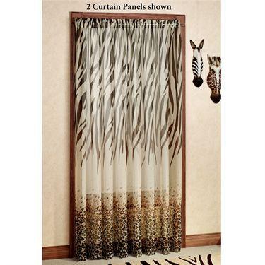 Kenya Safari Brown Animal Print Semi Sheer Curtain Panels