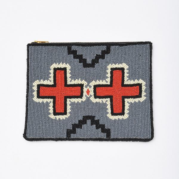 Double Red Cross Beaded Large Clutch Red Cross Beads And Gray
