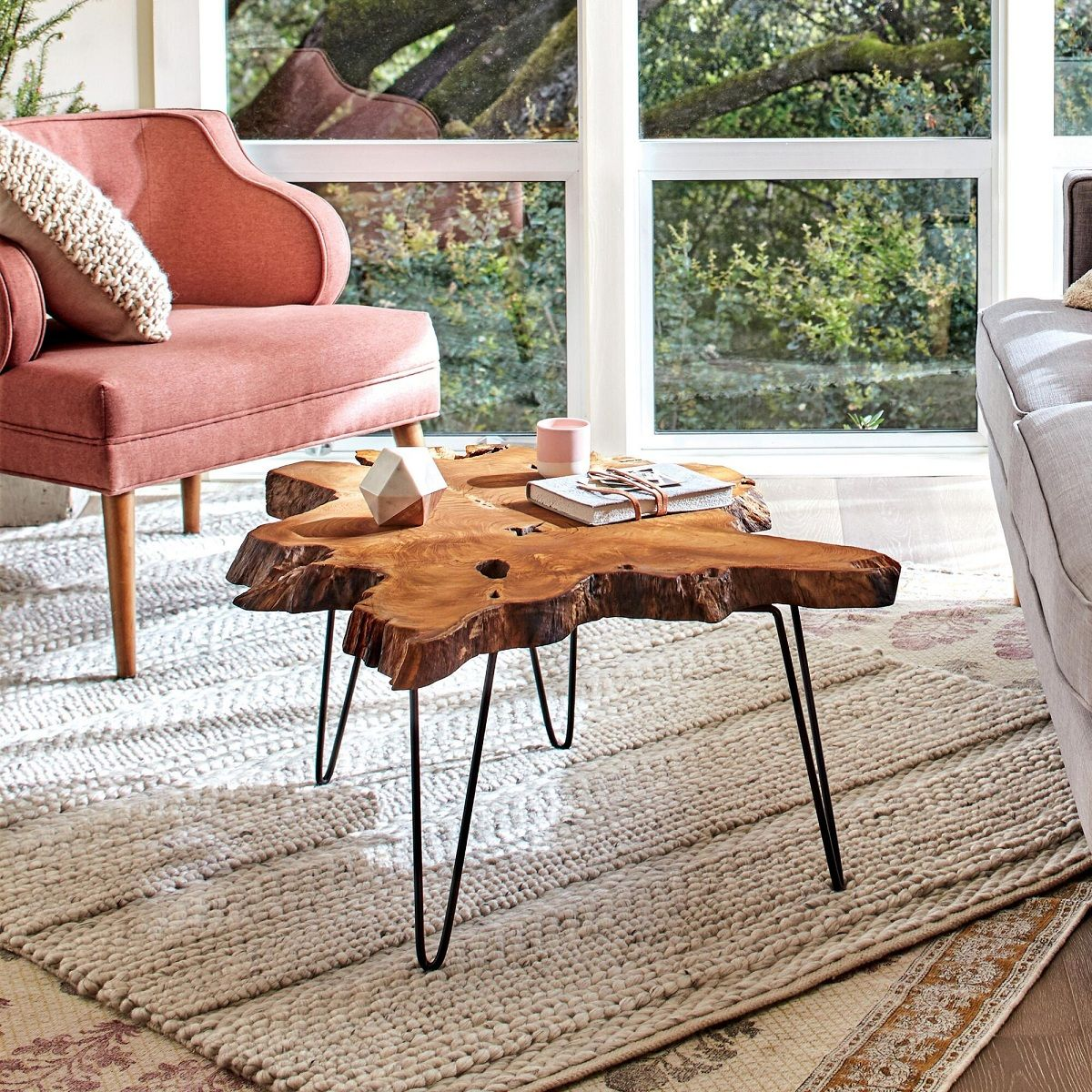 Rustic Wood Slice Coffee Table: Easy Assembly Crafted Teak Wood Slab Coffee Table With