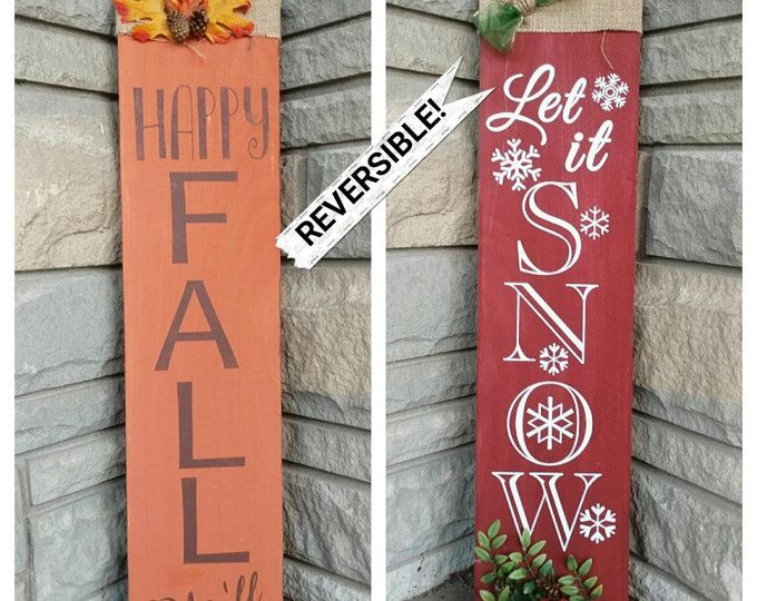 This reversible, two-in-one sign is perfect for adding festive character to your porch this holiday season! One side features a fall theme, while the other features a winter theme. Both sides have embellishments that give it an extra pop!  Shown as approx. 34H x 7.5W. Different sizes available  Made to order. Please allow 5-7 Business Days for processing  *Important Note: Due to limited availability of the original floral embellishments seen in the photo, very similar floral embellishments…