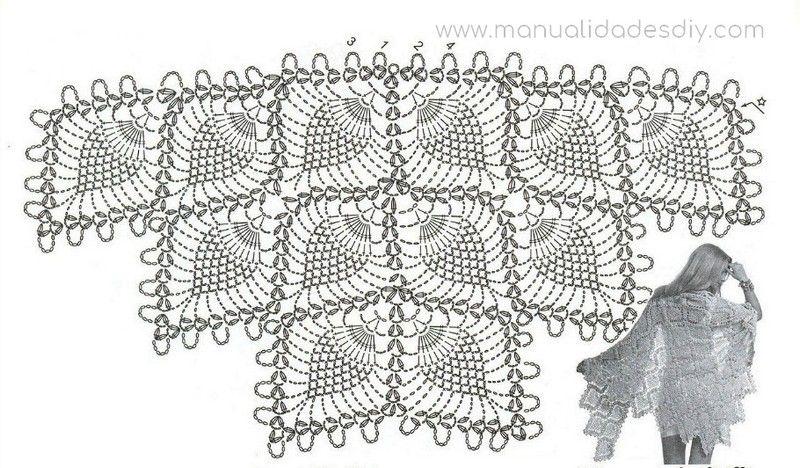 Chal Tejido a Crochet Triangular con Piñas | creaciones-soco ...