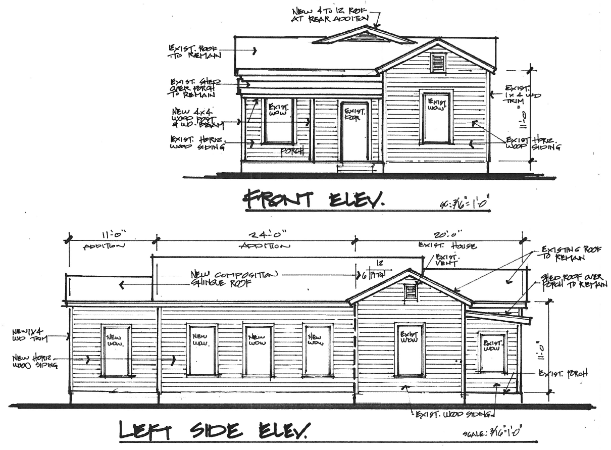 Addition Elevations Not All Drawings Have To Be Computer Generated These Elevations Are Packed With Clear Relevan Elevation Drawing Wood Railing Porch Patio
