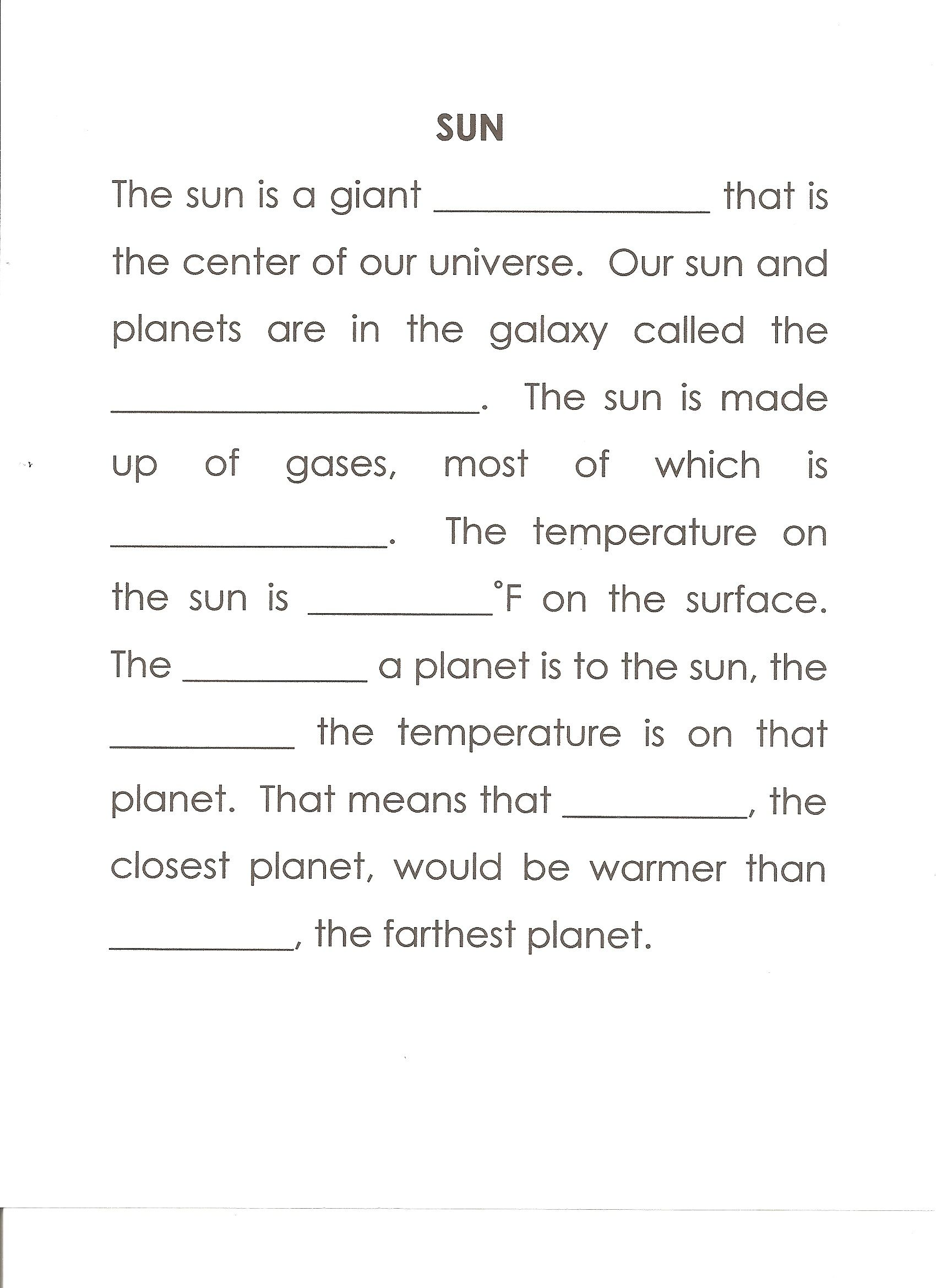 worksheet Sun Worksheets sun worksheet answers star milky way hydrogen 10000 closer warmer