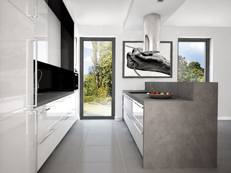 Pomysl Na Biala Kuchnia Z Wyspa Kuchenna Okap Wyspowy Jms Studio Krakow Home White Kitchen Home Decor