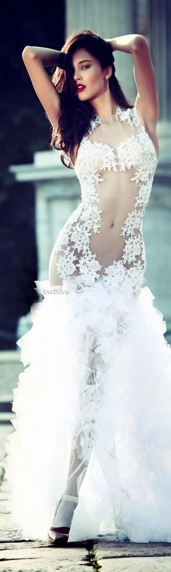 2014 embroidered lace mermaid wedding dresses, trans…   2014 Popular ...