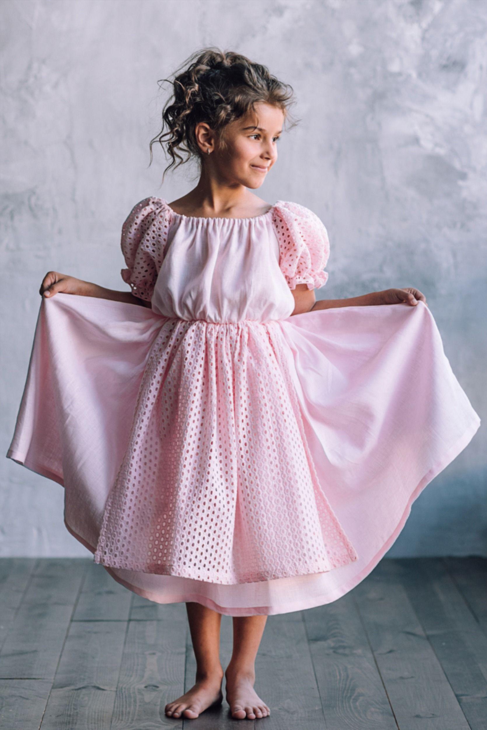 Girls linen flutter sleeve dress for junior bridesmaid in