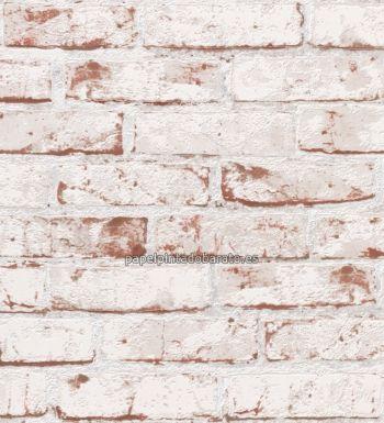 Papel pintado imitacion ladrillo visto esconchado blanco 9078-13 ...
