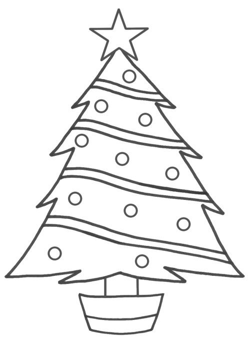 Christmas Tree A Beautiful And Simple Coloring Page | Printables ...