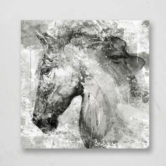 White horse headcanvas art by eric yang30x30 animal horse