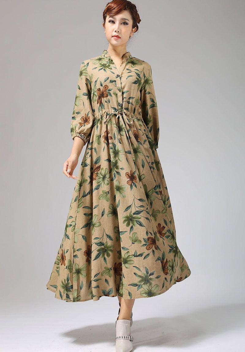 Abito di lino etnico maxi dress stampa floreale di xiaolizi su