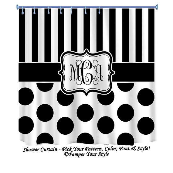 Stripe And Polka Dot Custom Shower Curtain   Custom Decor   Black And White Shower  Curtain