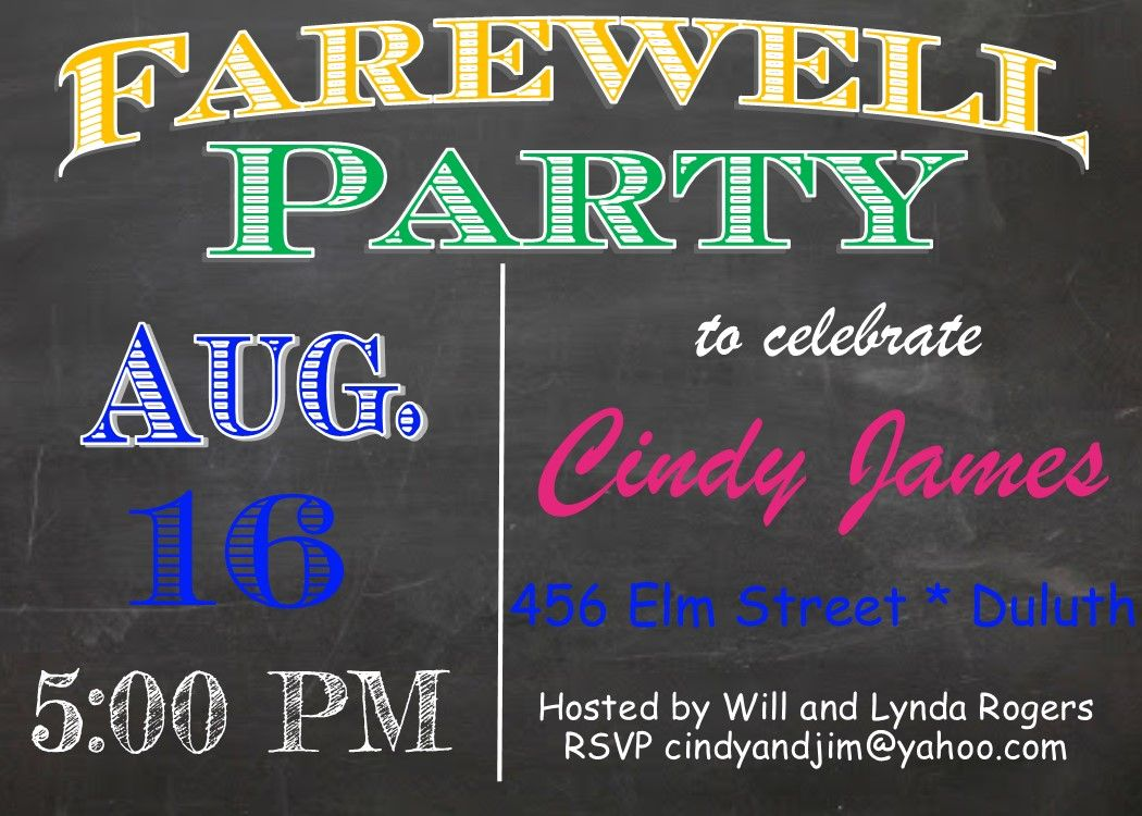 Going Away Party invitations Chalkboard with bright words Farewell ...