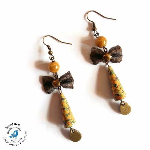 6e0985e1e7fa6 Boucles d'oreilles nœud tissu boucles d'oreilles perles en papier idée cadeau  bijou jaunes moutarde perles magiques bo artisanales bijou fait main boucles  ...