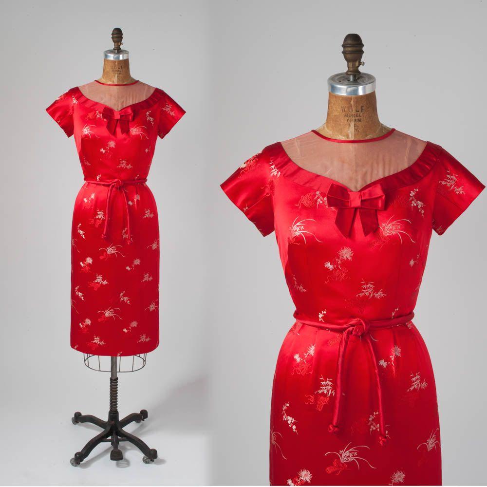 1950er Jahre rote Seide Wiggle Kleid: Satin Doll von missfarfalla ...