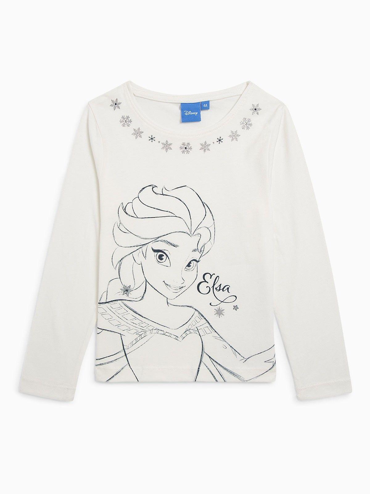 Bleu Marine La Reine des Neiges Tee Shirt Fille Manches Longues