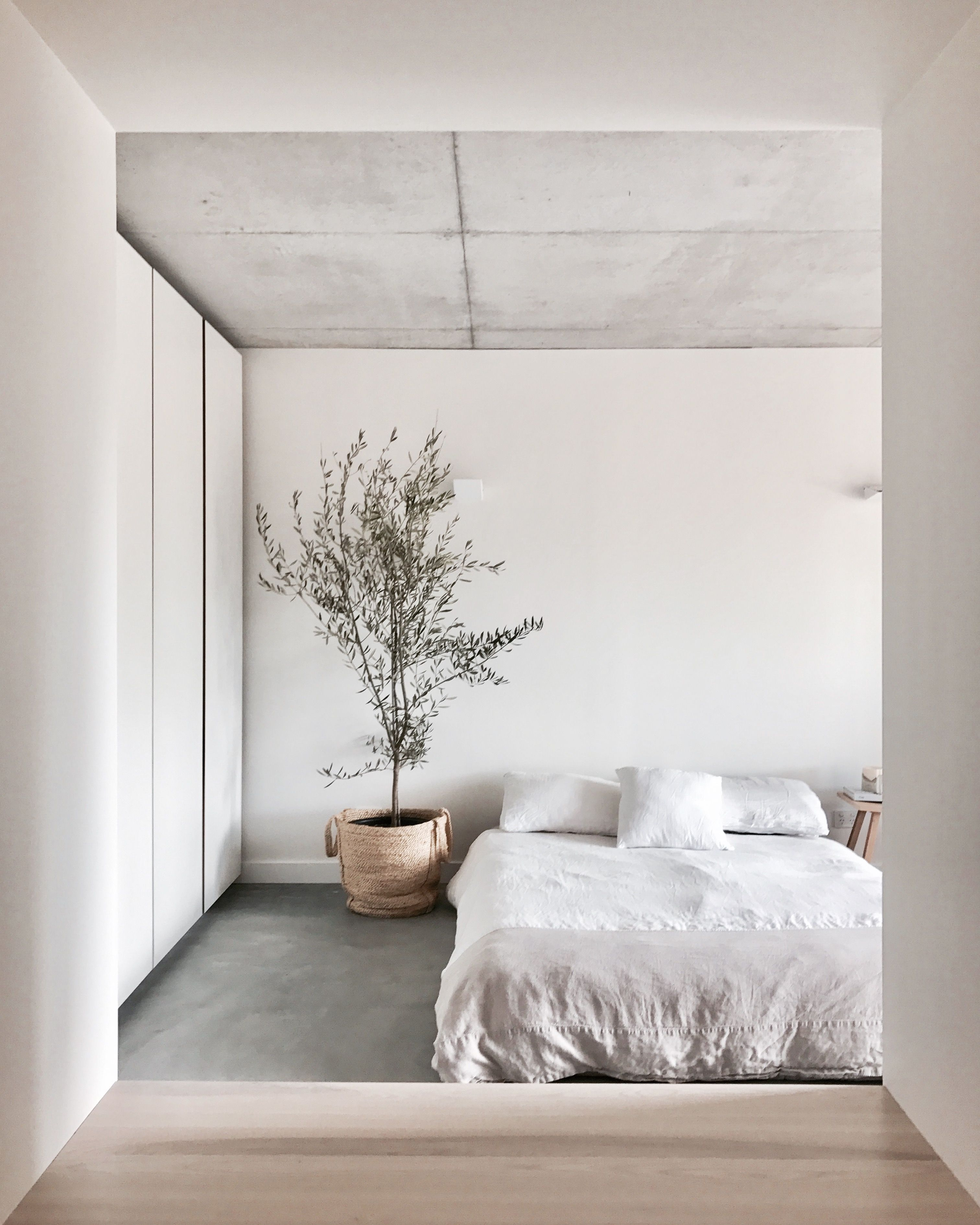 Mr And Mrs White Bedroom With 100 Linen Bedding Oak Side Table And Olive Tree Concrete Ceiling Floors Indoor Home Decor Bedroom Bedroom Design Home Decor