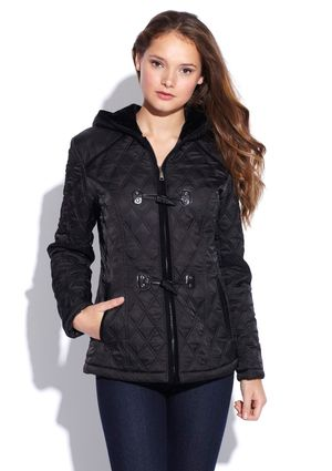 Laundry By Design Quilted Toggle Jacket With Hood Stylin