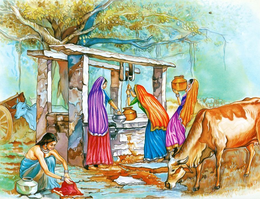 Village Well In 2020 Farm Paintings Art Village Indian Art