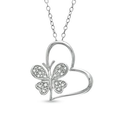 Diamond Accent Heart With Butterfly Pendant In Sterling