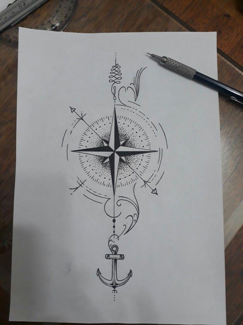 Photo of Modèle de tatouage. Idées: Horloge en «fond» avec l'aiguille de la boussole / les aiguilles de l'horloge …
