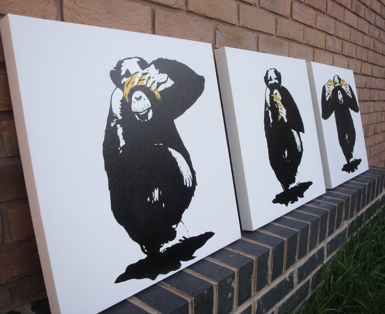 Zooicide Derivation Wise Monkeys Art Canvas Wall Art