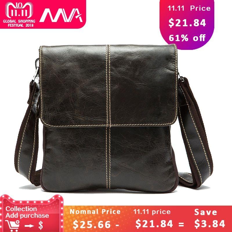 310499d031d6 MVA Messenger Bag Men Shoulder bag Genuine Leather Small male man Crossbody  bags for Messenger men