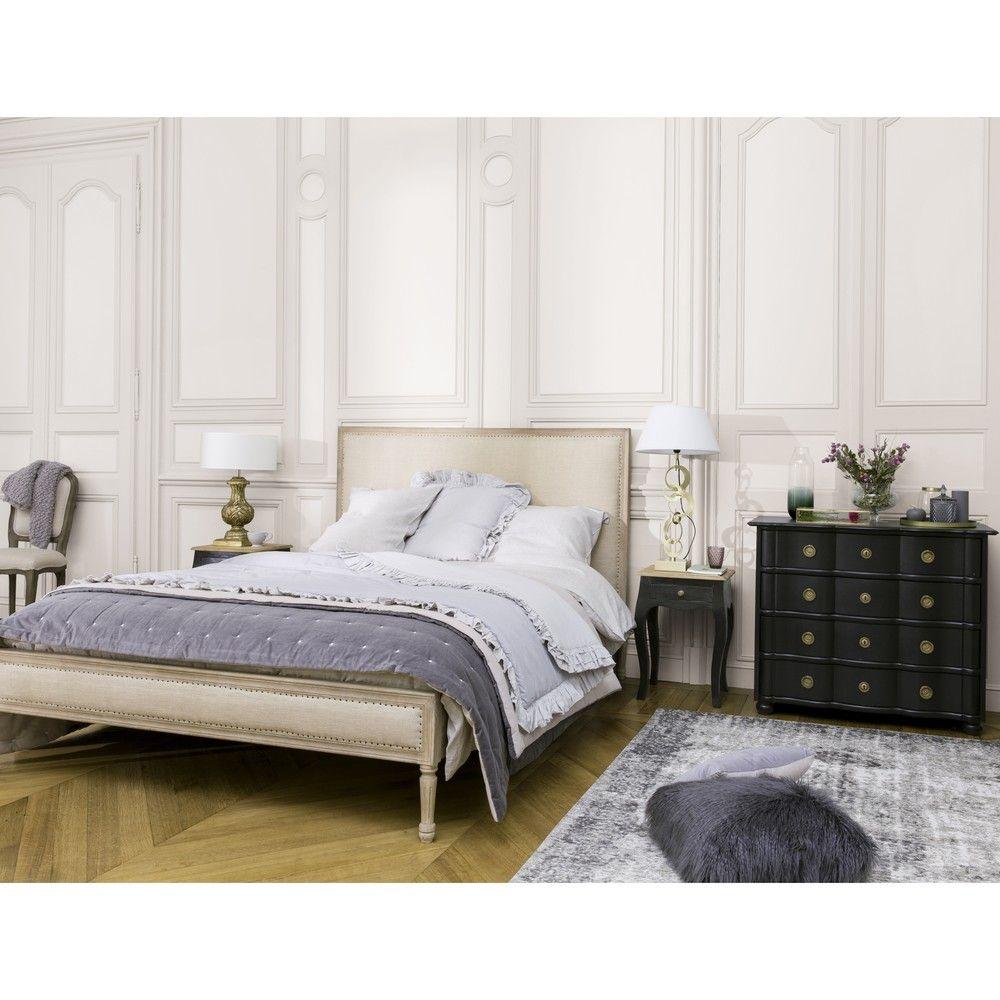 Bett aus geweißtem Mangoholz mit leinenbezug, beige, 160x200 | Linen ...
