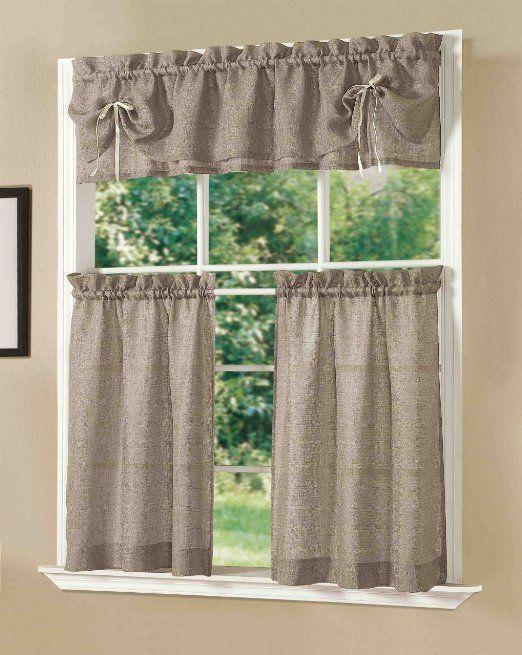Amazon Com Dainty Home Lucia Kitchen Curtain Set Taupe Kitchen Curtains Kitchen Curtain Sets Curtains