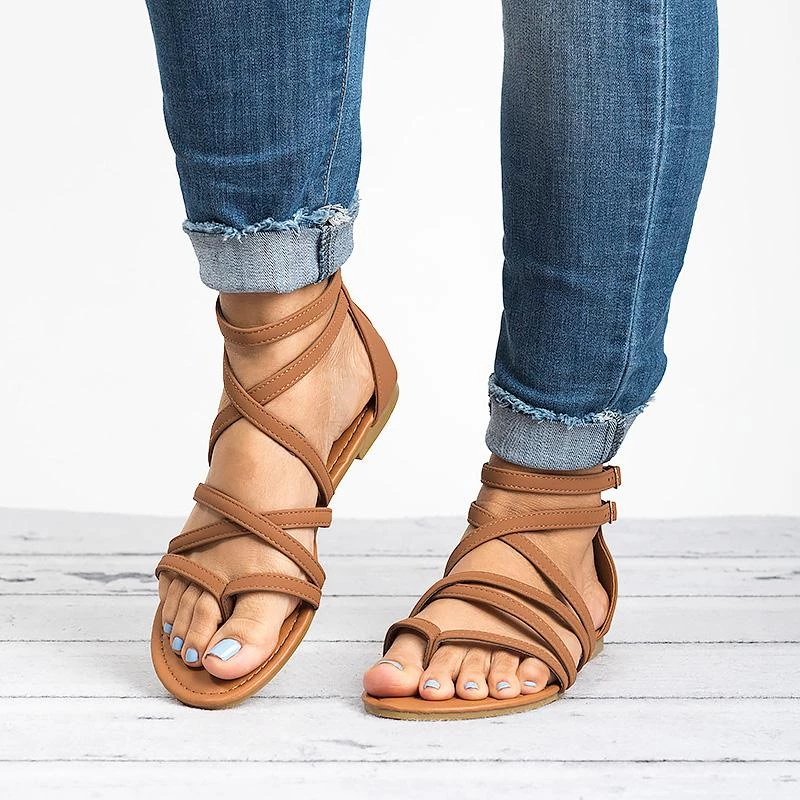Summer Pu Narrow Band Buckle Cover Heel Flat Gladiator Sandals In 2020 Womens Gladiator Sandals Heel Sandals Outfit Womens Summer Shoes