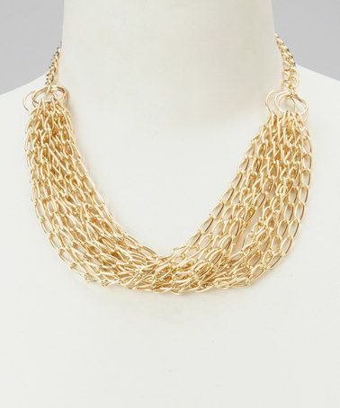 This Gold Short Multi-Strand Chain Necklace is perfect! #zulilyfinds