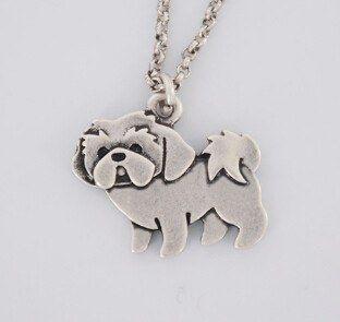Silver Shih Tzu Dog Necklace