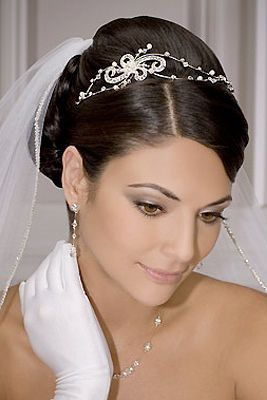 Gathered Into A Bun Wedding Hairstyle With Ornament Bridesmaid