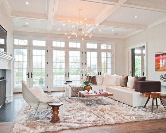 Interior Design, The Modern Living Room Design Also French Door Design Also  Beautiful Fireplace Also Beautiful Big Carpet Also White Sofa Also Pillow:  The ...