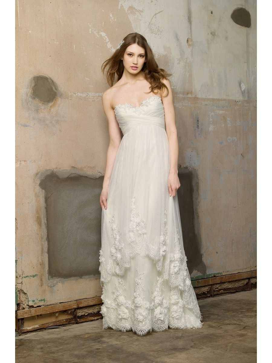 Empire sweetheart sweep train cheap wedding dresses maternity