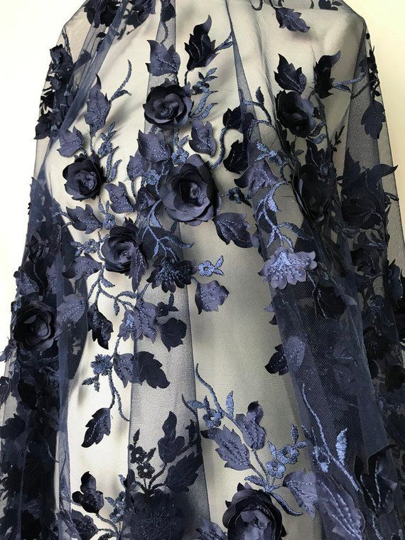 3d Rose Flower Fabric Navy Blue Lace Fabric Floral Leaf Lace Etsy Blue Lace Wedding Fabric Lace Fabric