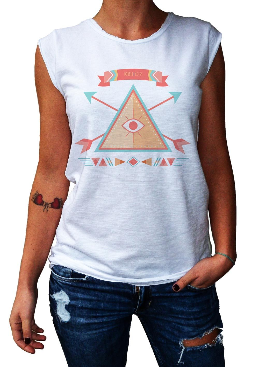 Women's T-Shirt THE TRIANGLE OF TRUTH - 100% Made in Italy - 100% Cotton - BOHO COLLECTION http://www.doubleexcess.com/