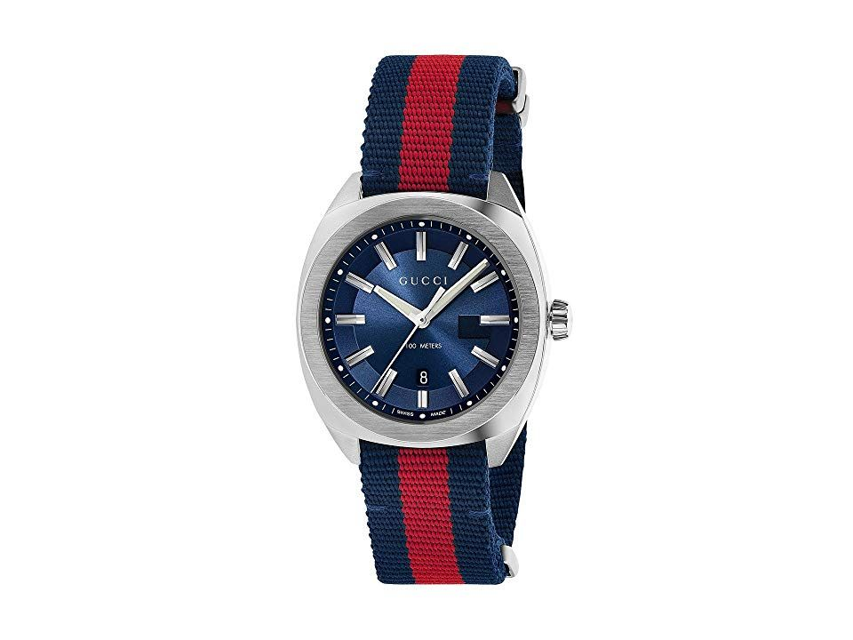 68b4ae56479 Gucci GG2570 41mm - YA142304 (Blue Red Blue) Watches. Stainless steel case.  Adjustable blue red blue nylon strap. Ardillon buckle closure.