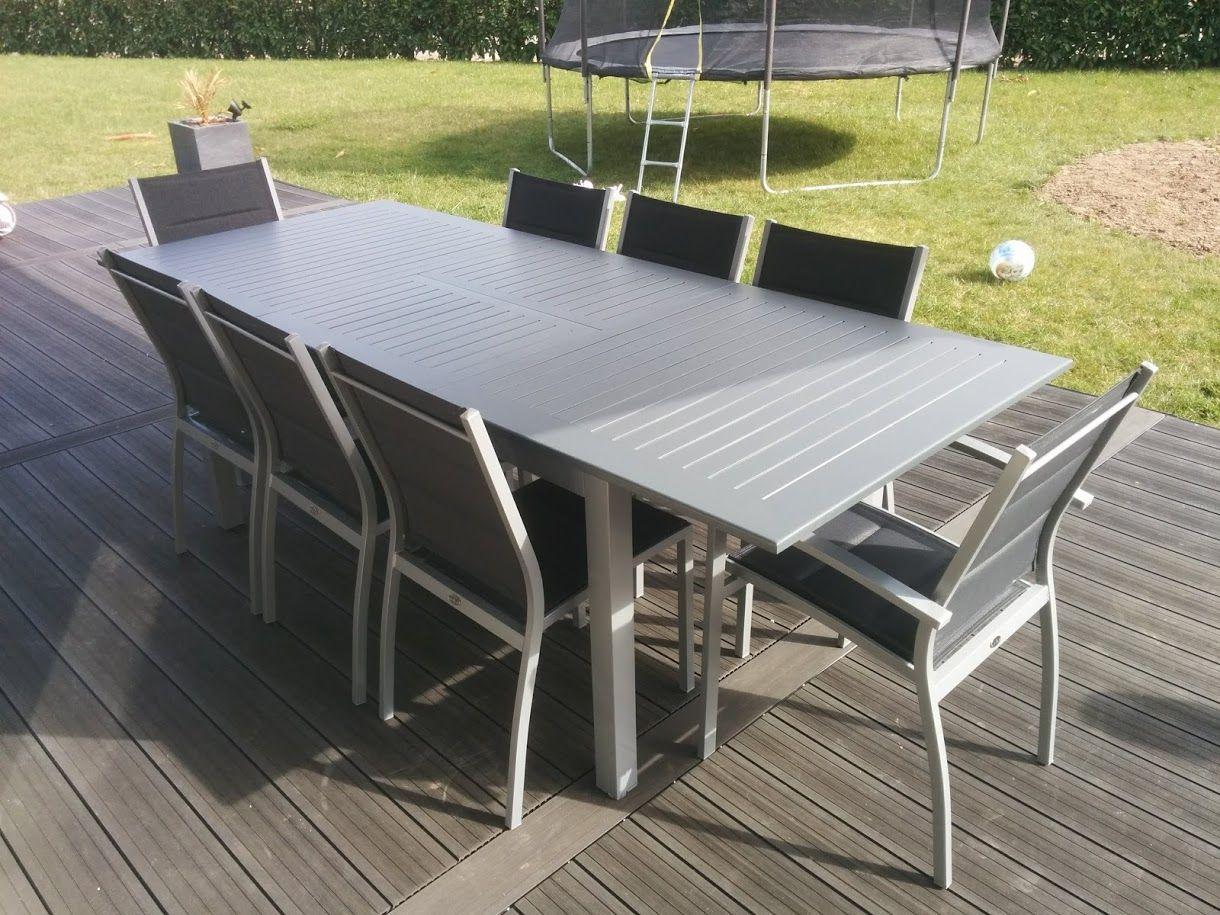 Chicago Table De Jardin A Rallonge Extensible 175 245cm En Aluminium Et Textilene 8 Places Ensemble Design Et Moderne Systeme De Ra Table De Jardin